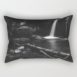 Minimalistic waterfall behind broken tree in black and white Rectangular Pillow