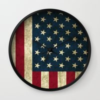 american flag Wall Clocks featuring American Flag  by  Can Encin