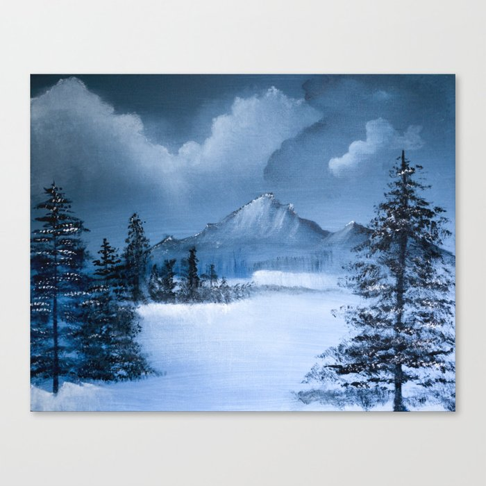Mountain Scene in Winter Canvas Print