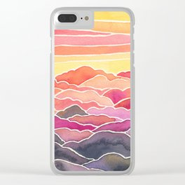 Above the Clouds Watercolor Painting Clear iPhone Case