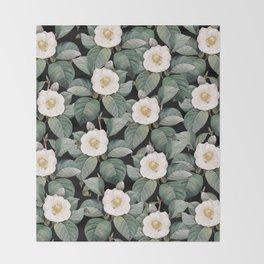 White Camellia Flowers On Black Throw Blanket