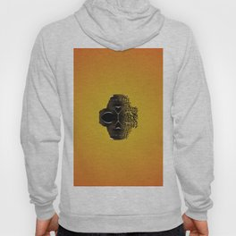 fractal black skull portrait with orange abstract background Hoody