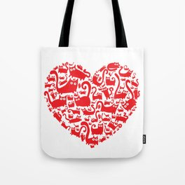 Cute red heart made from cats Tote Bag
