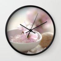 bathroom Wall Clocks featuring Still life for Bathroom by Tanja Riedel