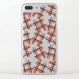 Cross hashtag print in blue and orange Clear iPhone Case