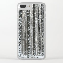 White trees-winter forest Clear iPhone Case