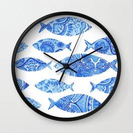Folk watercolor fish pattern Wall Clock