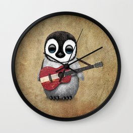 Baby Penguin Playing Latvian Flag Acoustic Guitar Wall Clock