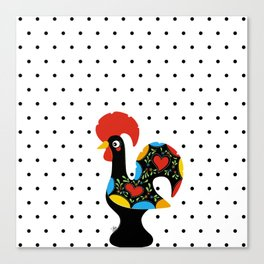 Famous Rooster Lucky Charm & Polka Dots Canvas Print