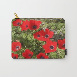Wild Anemone Flowers In A Spring Field Carry-All Pouch