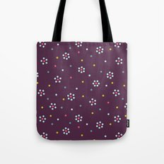 Floral Pattern In Purple And Dots Tote Bag