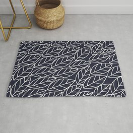 Doodle Leaves Navy and Light Grey (almost white) Rug