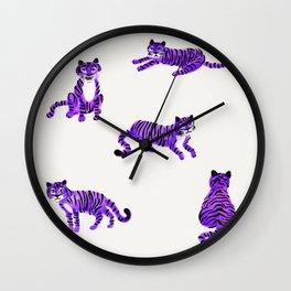 Purple Tigers Wall Clock