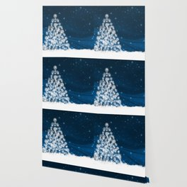 Blue Christmas Eve Snowflakes Winter Holiday Wallpaper