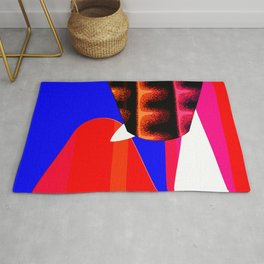 RED BLUE WHITE TOUCHING BETWEEN LINES Rug