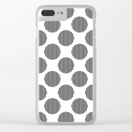 Black and white striped texture polka dots pattern Clear iPhone Case