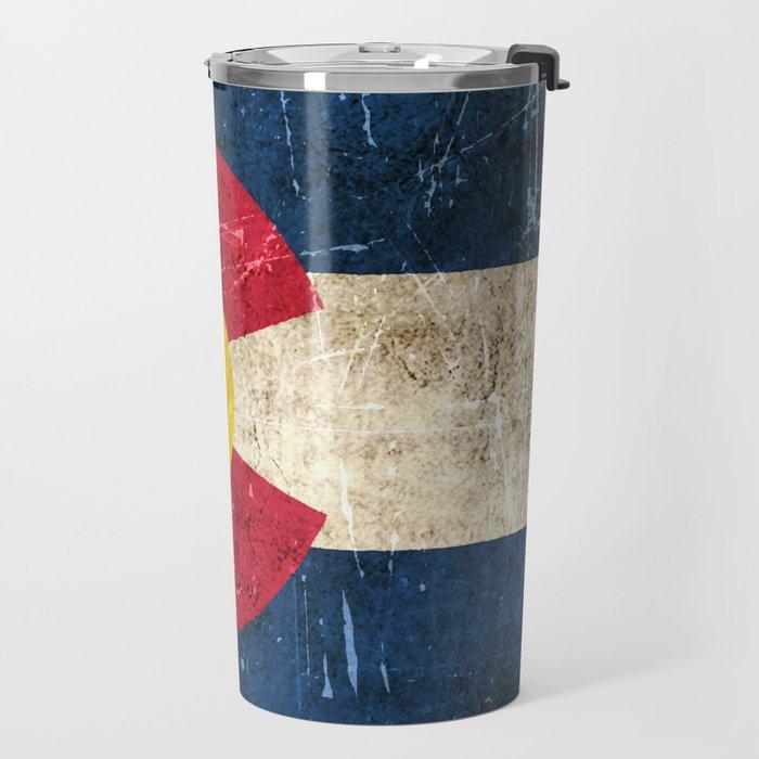 Vintage Aged and Scratched Colorado Flag Travel Mug