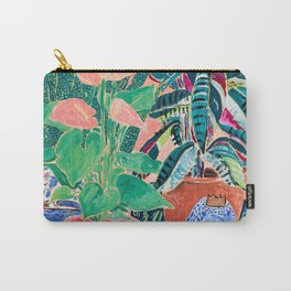 Jungle of House Plants Blush Still Life Painting with Blue Lion Figurine Carry-All Pouch