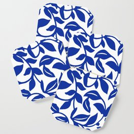 PALM LEAF VINE SWIRL BLUE AND WHITE PATTERN Coaster