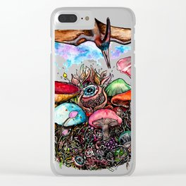 mushroom fields Clear iPhone Case