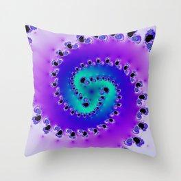 """""""Swool"""" Teal & Purple Spiral Fractal Art Print Throw Pillow"""