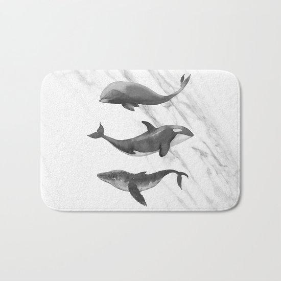Ocean Whales Marble Black and White Bath Mat