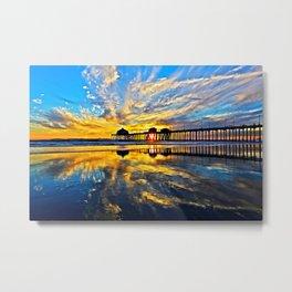 Sunset ~ Huntington Beach Pier CA  11/7/13 Metal Print