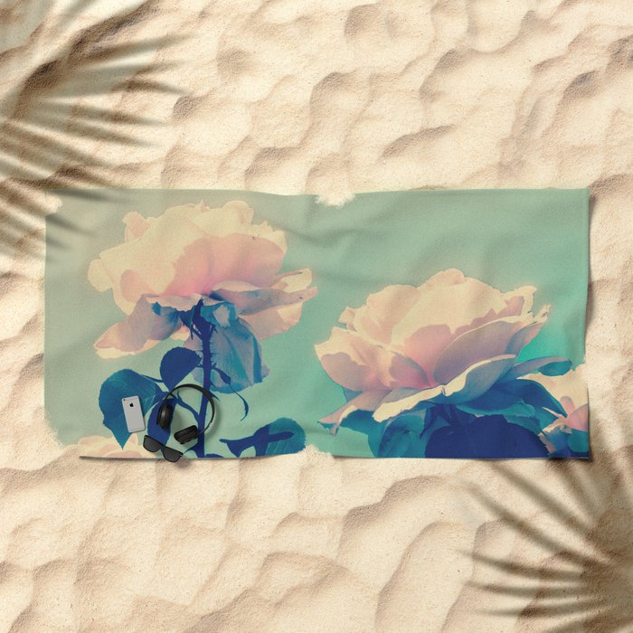 Soft Baby Pink Roses with Mint Blue Sky Backgroud Beach Towel