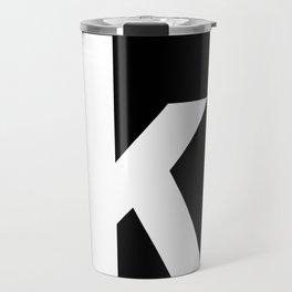 letter K (White & Black) Travel Mug