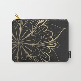 Elegant hand painted black gold mandala floral Carry-All Pouch