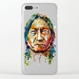 Sitting Bull watercolor painting Clear iPhone Case