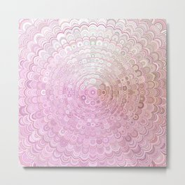 Pink and White Flower Mandala Metal Print