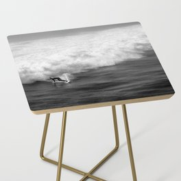 Lone Surfer in Black and White Side Table