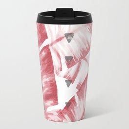 Dusty Rose Tropical Banana Leaves Arrows Design Travel Mug