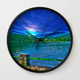 Sun over Lake Schliersee bavaria Germany Wall Clock