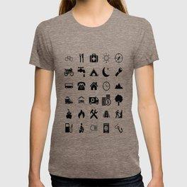 Extreme White Icon model: Traveler emoticon help for travel t-shirt T-shirt
