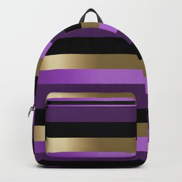 Bold Purple, Black and Gold Stripes Backpack