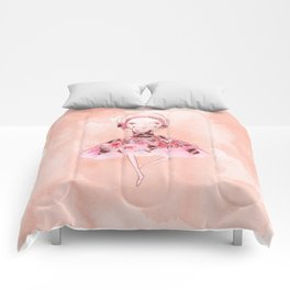 Isabella Bellarina Dancing on Peach Watercolour Comforters