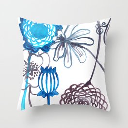 Blue-Seeded Throw Pillow