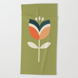 RETRO TULIP - ORANGE AND OLIVE GREEN Beach Towel