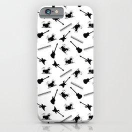 Guitar, Drums, Keyboards, and Bass, Musical Instruments Seamless Repeating Pattern iPhone Case