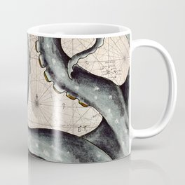 Steel Grey Tentacles Vintage Map Coffee Mug