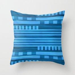 Art Deco Geometric Pattern Blue Throw Pillow