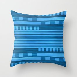 Art Deco Geometric Pattern Blue Throw Pillow