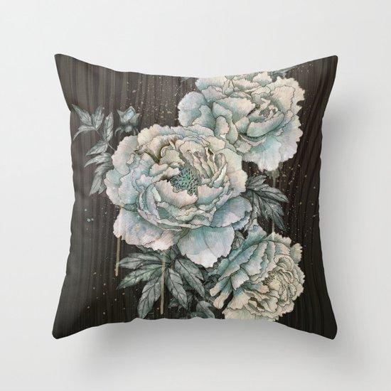 Peony Wood Throw Pillow