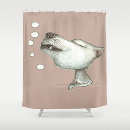 NORDIC ANIMAL - WOLFGANG THE WOLF / ORIGINAL DANISH DESIGN bykazandholly  Shower Curtain