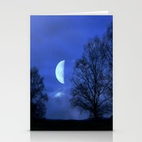 kindle Stationery Cards featuring Moon between Trees  - JUSTART © by JUSTART