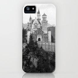 Black and White Neuschwanstein Castle iPhone Case