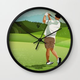Mountain Golfer Wall Clock