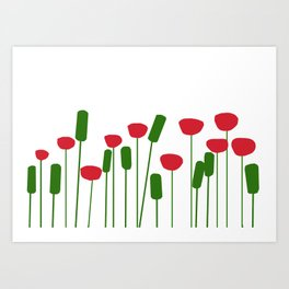 Poppies in white Art Print